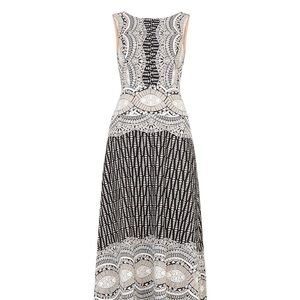 BCBG Maxazria Brigetta Burnout Deco Print Gown